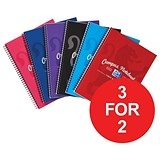 Image of Campus Laminated Card Cover Wirebound Notebook / A5+ / 2 Hole / 140 Pages / Pack of 5 / 3 for the Price of 2