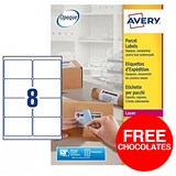 Image of Avery BlockOut Jam-free Laser Addressing Labels / 8 per Sheet / 99.1x67.7mm / White / L7165-250 / 2000 Labels / Offer Includes FREE Chocolates