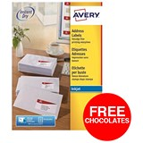 Image of Avery Quick DRY Inkjet Addressing Labels / 10 per Sheet / 99.1x57.0mm / White / J8173-100 / 1000 Labels / Offer Includes FREE Chocolates