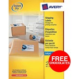 Image of Avery Quick DRY Inkjet Addressing Labels / 8 per Sheet / 99.1x67.7mm / White / J8165 / 800 Labels / Offer Includes FREE Chocolates
