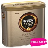 Image of Nescafe Gold Blend Instant Coffee / 2 x 750g Tins / Offer Includes FREE Chocolates