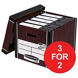 Image of Fellowes Premium 725 Classic Bankers Box / Woodgrain / Pack of 10 / 3 for the Price of 2 / Redeem your FREE Christmas Hamper