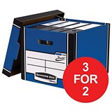 Image of Fellowes Premium 726 Archive Bankers Box / Blue & White / Pack of 10 / 3 for the Price of 2 / Redeem your FREE Christmas Hamper