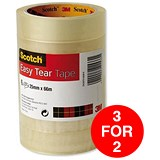 Image of Scotch Easy Tear Transparent Tape / 25mmx66m / Pack of 6 / 3 for the Price of 2