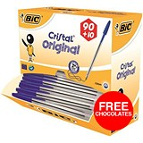 Image of Bic Cristal Ball Pen / Clear Barrel / Blue / Pack of 100 / Offer Includes FREE Chocolates