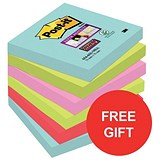 Image of Post-It Super Sticky Notes / 76x76mm / Aqua Assorted / Pack of 12 x 90 Notes / Offer Includes FREE Sweets