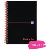 Black n' Red Hardback Wirebound Notebook / B5 / 140 Pages / FREE Coffee
