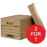 Image of Fellowes Bankers Box Earth Storage Boxes / Large / Pack of 10 / Buy One Get One FREE