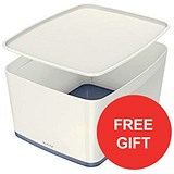 Image of Leitz MyBox Storage Box with Lid / W385xD318xH198mm / White & Grey / 3 for the price of 2