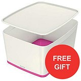 Image of Leitz MyBox Storage Box with Lid / W385xD318xH198mm / White & Pink / 3 for the price of 2