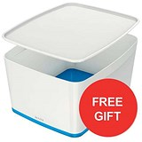 Image of Leitz MyBox Storage Box with Lid / W385xD318xH198mm / White & Blue / 3 for the price of 2