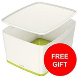 Image of Leitz MyBox Storage Box with Lid / W385xD318xH198mm / White & Green / 3 for the price of 2