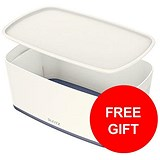Image of Leitz MyBox Storage Box with Lid / W318xD19xH128mm / White & Grey / 3 for the price of 2