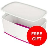 Image of Leitz MyBox Storage Box with Lid / W318xD19xH128mm / White & Pink / 3 for the price of 2