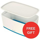 Image of Leitz MyBox Storage Box with Lid / W318xD19xH128mm / White & Blue / 3 for the price of 2