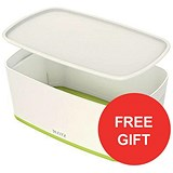 Image of Leitz MyBox Storage Box with Lid / W318xD19xH128mm / White & Green / 3 for the price of 2