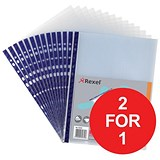 Image of Rexel A4 Nyrex Reinforced Pockets / Blue Strip / Pack of 25 / Buy One Get One FREE
