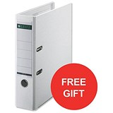 Image of Leitz A4 Lever Arch Files / Plastic / 80mm Spine / White / Pack of 50 / Offer Includes FREE Rexel Strip+ Lamp