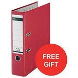 Image of Leitz A4 Lever Arch Files / Plastic / 80mm Spine / Red / Pack of 50 / Offer Includes FREE Rexel Strip+ Lamp