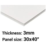 Image of Foamboard / 30'' x 40'' / White / 3mm Thick / Box of 40