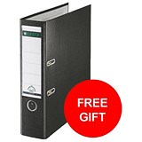Image of Leitz A4 Lever Arch Files / Plastic / 80mm Spine / Black / Pack of 50 / Offer Includes FREE Rexel Strip+ Lamp
