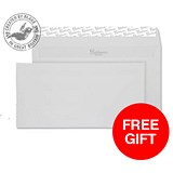 Image of Blake Premium DL Envelopes / Smooth / Diamond White / Peel & Seal / 120gsm / Pack of 500 / Offer Includes FREE Paper