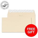 Image of Blake Premium DL Wallet Envelopes / Wove / Cream / Peel & Seal / 120gsm / Pack of 500 / Offer Includes FREE Paper