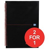 Image of Black n' Red Glossy Black Wirebound Notebook / A4 / Ruled & Perforated / 140 Pages / Pack of 5 / Buy One Get One FREE