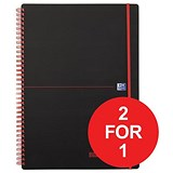 Image of Black n' Red Wirebound Polypropylene Notebook / A4 / Ruled / 140 Pages / Pack of 5 / Buy One Get One FREE