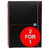 Image of Black n' Red Wirebound Polypropylene Notebook / A5 / Ruled / 140 Pages / Pack of 5 / Buy One Get One FREE