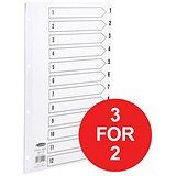 Image of Concord Classic Index Dividers / 1-12 / Mylar Tabs / A4 / White / 3 packs for the price of 2