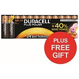 Image of Duracell Plus Power Alkaline Battery / 1.5V / AA / Pack of 24 x 2 / FREE Bunny