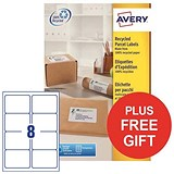 Image of Avery Recycled Laser Addressing Labels / 8 per Sheet / White / 800 Labels / FREE Pen Pot
