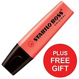 Stabilo Boss Highlighters / Red / Pack of 10 / FREE Highlighters