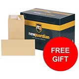 Image of New Guardian Plain DL Pocket Envelopes / Manilla / Peel & Seal / 130gsm / Pack of 500 / FREE Hand Wash Set