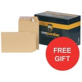 Image of New Guardian Heavyweight C5 Pocket Envelopes / Manilla / Peel & Seal / Pack of 250 / FREE Hand Wash Set