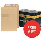 Image of New Guardian Heavyweight C4 Pocket Envelopes with Window / Manilla / Peel & Seal / Pack of 250 / FREE Hand Wash Set