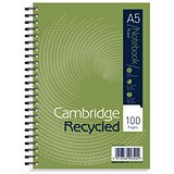 Cambridge EveryDay Recycled Wirebound Notebook / A5 / 100 Pages / Pack of 5