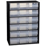 Image of Raaco Steel Cabinet / 18 Polypropylene Drawers / Black