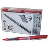 Image of Uni-ball UB-185S Eye Needle Pen Stainless Steel Point / Micro / 0.3mm Line / Red / Pack of 12 + 2 FREE