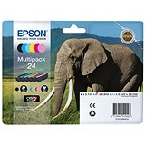 Image of Epson 24 Inkjet Cartridge Multipack - Black, Cyan, Magenta, Yellow, Light Cyan and Light Magenta (6 Cartridges)