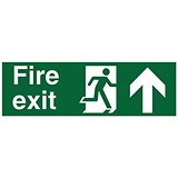 Stewart Superior Fire Exit Sign - Man and Arrow Straight Up - 450x150mm - Self-adhesive Vinyl