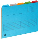 Image of Elba A4 Ultimate Tabbed Folders / 240gsm / Set of 5 / Assorted / Pack of 25
