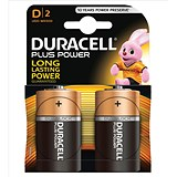 Image of Duracell Plus Power Alkaline Battery / 1.5V / D / Pack of 2