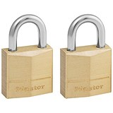 Image of Masterlock Padlock Brass 20mm Ref 120EURT [Pack 2]
