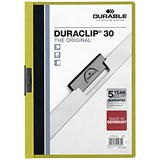 Image of Durable Duraclip Folders / PVC / Clear Front / 3mm Spine for 30 Sheets / A4 / Green / Pack of 25