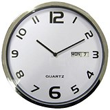 Image of Wall Clock White With Date Grey Edge Ref 2120H
