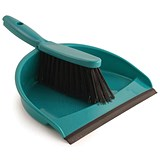 Image of Dustpan & Brush Set / Soft Bristle / Green