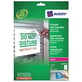Image of Avery Removeable Self-Cling Signs / 2 per Sheet / 190x135mm / L7079-10 / 20 Signs