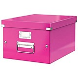Image of Leitz WOW Click & Store Storage Box / Medium / A4 / Pink